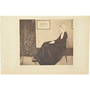"""1883 James McNeill Whistler Etching """"Portrait de ma Mere"""" Whistler's Mother"""