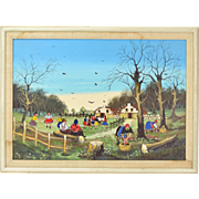 Kowalski Folk Art Oil Painting Village Scene with Mushroom Hunters