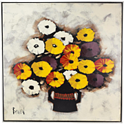 Vintage Mid-Century Modern Abstract Floral Still Life Oil Painting sgnd Bowen