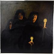 Three Solemn Woman in Black Robes Holding Candles Oil Painting Circa 1960