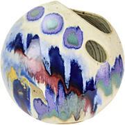 Abstract Glazed Biomorphic Disc Art Pottery Vase by Vermont Potter Ken Pick