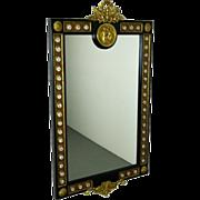 French Style Wall Mirror w Hand Painted Porcelain Ormolu Cherub Mounts