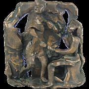 Affaire de Coeur Small Mid-century Abstracted Brutalist Bronze Sculpture Lovers