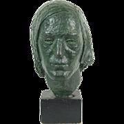 Vintage Mid-Century Bronze Bust of Unknown Man's Head