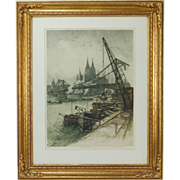 SOLD 1934 Industrial Cityscape Etching Cologne Harbor Germany Luigi Kasimir