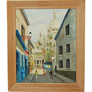 1960 Paris Street Scene Oil Painting Girls in Pencil Skirts w Basilica sgnd Sora