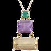 14k Solid Gold Modernist Necklace Graduated Baguettes Emerald Amethyst Topaz