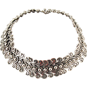 Copy Los Castillo Pre-Columbian Double Swirl Mexican Silver Necklace