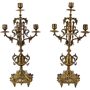 Vintage Pair Louis XV French Style Brass Five Light Candelabra