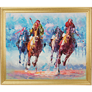 Vintage Mid-Century Modern Abstract Oil Painting Horse Race signed Verrier