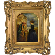19th Century Oil Painting Young Woman Giving Alms to a Blind Beggar Woman