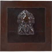 Early 20th Century Henrik Ibsen Bronze Bas-Relief Plaque by Weinkopf