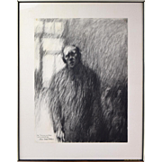 """Haunting Portrait Charcoal Drawing """"The Institution 3""""  Fishbein Chicago Artist"""