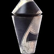 Vintage 1980's Studio Art Pottery Jar Fluted Cylinder w Geometric Designs signed
