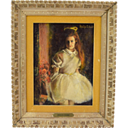 Vintage 1970's Impressionist Oil Painting Young Red Headed Girl sgnd Schwab Chicago