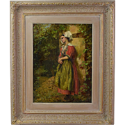 19th Century Impressionist Oil Painting Contemplative Young Belgian Woman in Garden