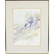 Mixed Media Watercolor Painting Dunescape by Indiana Artist Gerrie Govert