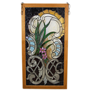 Beautiful Floral Art Nouveau Style Beveled Jeweled Stained Glass Window