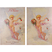 Pair 1920's Roger & Gallet Fleurs D'Amour Perfume Advertising Poster Cards