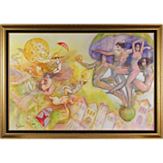 Surreal Dancing Nudes Hot Air Balloon Painting Boban Chicago Serbian Artist