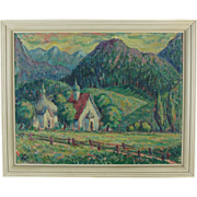 Impressionist Oil Painting German Pastoral Scene Onion Domed Byzantine Chapel