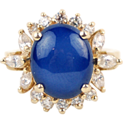 Vintage 14k Solid Yellow Gold Star Sapphire Ring with CZ Accent Stones