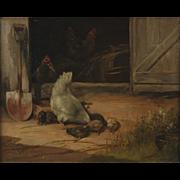 1902 Paul E. Harney Chickens in Barnyard Scene Oil Painting St. Louis Artist