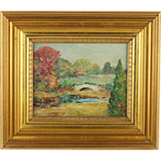 Early 20th Century Impressionist Oil Painting  Landscape with Bridge over Stream