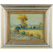 Early 20th Century Impressionist Landscape Oil Painting in Silver Wood Frame