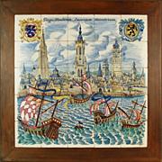 "1958 Belgian Tile Picture ""Bruges Flanders Emporium of Merchants"" Kellner Jan"