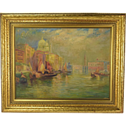 1930's Venice Oil Painting Santa Maria della Salute Domes on Grand Canal  Gottersdanker