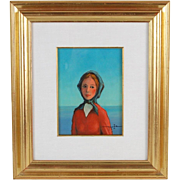 1975 Italian Oil Painting Portrait of Young Peasant Woman Signed