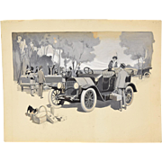 1920's Automobile Advertising Painting Picnic w Bull Terrier Michigan Artist