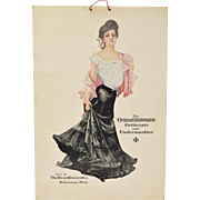 Original Antique 1910 Kalamazoo Petticoats & Undermusling Advertising Window Card