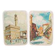 Pair Mid-Century Italian Pottery Hand-Painted Wall Plaques Street Scenes