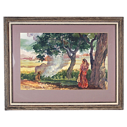 Watercolor Painting Woman Wearing Sari in Forest meets Monkey Beside Fire