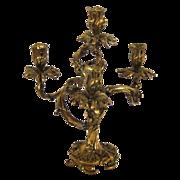 Vintage Louis XV Bronze Ornate Foliate Motif Candelabra Candlestick