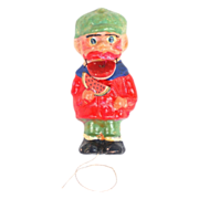 Black Americana Man Eating Watermelon Ornament Papier-mache Pull String Toy