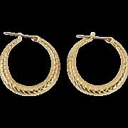 Vintage Pair 14k Solid Yellow Gold Twist Pattern Earrings