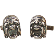 Vintage Sterling Silver Kabuki Grotesque Masks Cufflinks Cuff Links