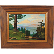 Mountain Landscape Redwoods in Morning Light Oil Painting in Arts & Crafts Frame