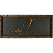 1966 Mid-century Oil Painting French Horn Brass Wind Instrument sgnd