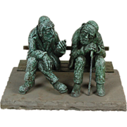 Large Nicky Imber Bronze Sculpture Two Old Jewish Men Talking on Park Bench