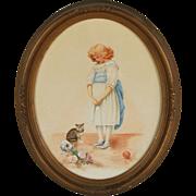 Naughty Kitten 1900's Watercolor Painting Young Girl with Kitten Broken Vase