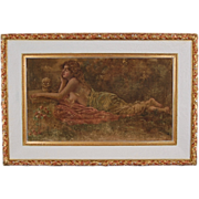 Art Nouveau Oil Painting Reclining Nude Reading Open Book with Skull