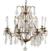 Magnificent Vintage 8 Arm Crystal Pendalogue & Tear Drop Prism Chandelier