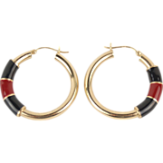 Vintage 14k Solid Gold Black and Red Enamel Hoop Earrings