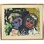 SOLD Mid-Century Hilda Rubin Abstract Color Gouache Painting Boy and Girl