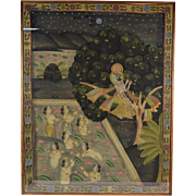 Hindu Pichhwai Painting Krishna Stealing Garments of Unmarried Nude Gopī Girls