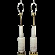 Pair Mid-Century Modern Stiffel Art Pottery Bottle Vase Table Lamps